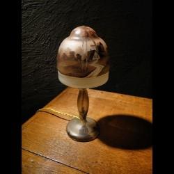 Lampe champignon 1900 en verre peint